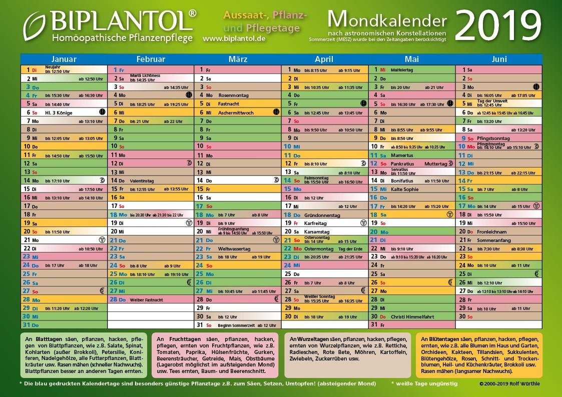 BIPLANTOL Mondkalender 2019