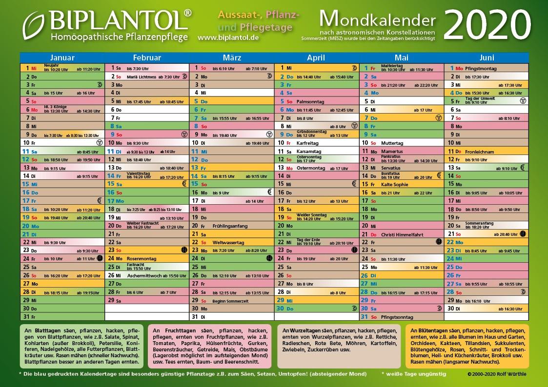 BIPLANTOL Mondkalender 2020